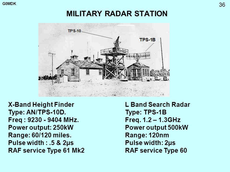 G0MDK 36 MILITARY RADAR STATION L Band Search Radar Type: TPS-1B Freq. 1.2 – 1.3GHz Power output 500kW Range: 120nm Pulse width: 2µs RAF service Type