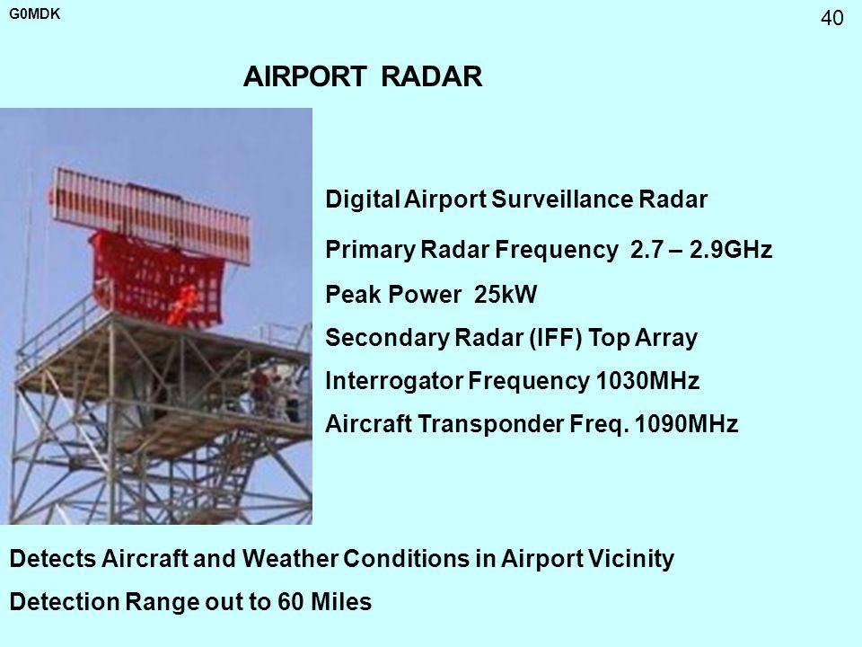 G0MDK 40 AIRPORT RADAR Detects Aircraft and Weather Conditions in Airport Vicinity Detection Range out to 60 Miles Digital Airport Surveillance Radar