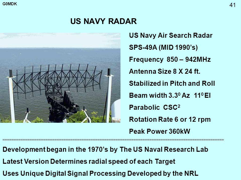 G0MDK 41 US NAVY RADAR US Navy Air Search Radar SPS-49A (MID 1990s) Frequency 850 – 942MHz Antenna Size 8 X 24 ft. Stabilized in Pitch and Roll Beam w