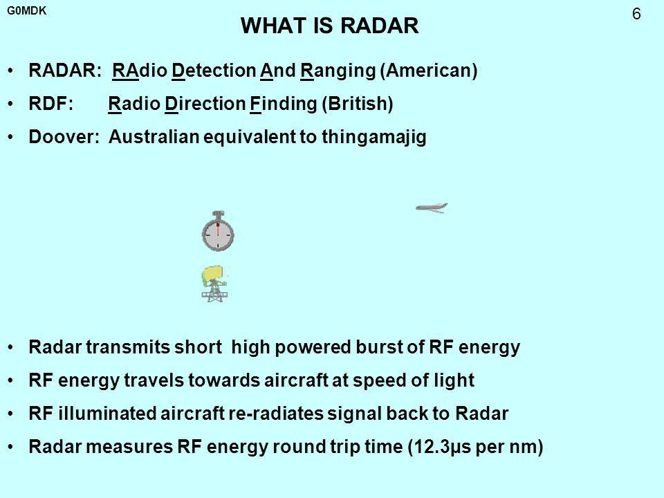 G0MDK 6 WHAT IS RADAR RADAR: RAdio Detection And Ranging (American) RDF: Radio Direction Finding (British) Doover: Australian equivalent to thingamaji