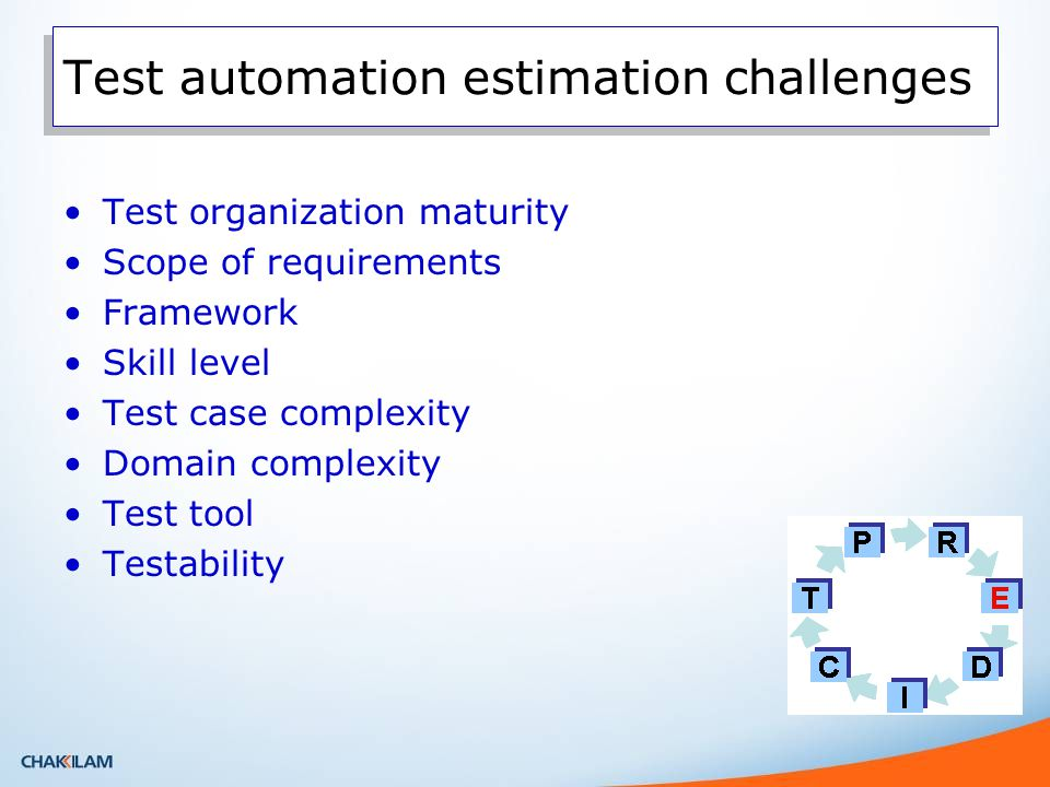 Test automation estimation challenges Test organization maturity Scope of requirements Framework Skill level Test case complexity Domain complexity Test tool Testability