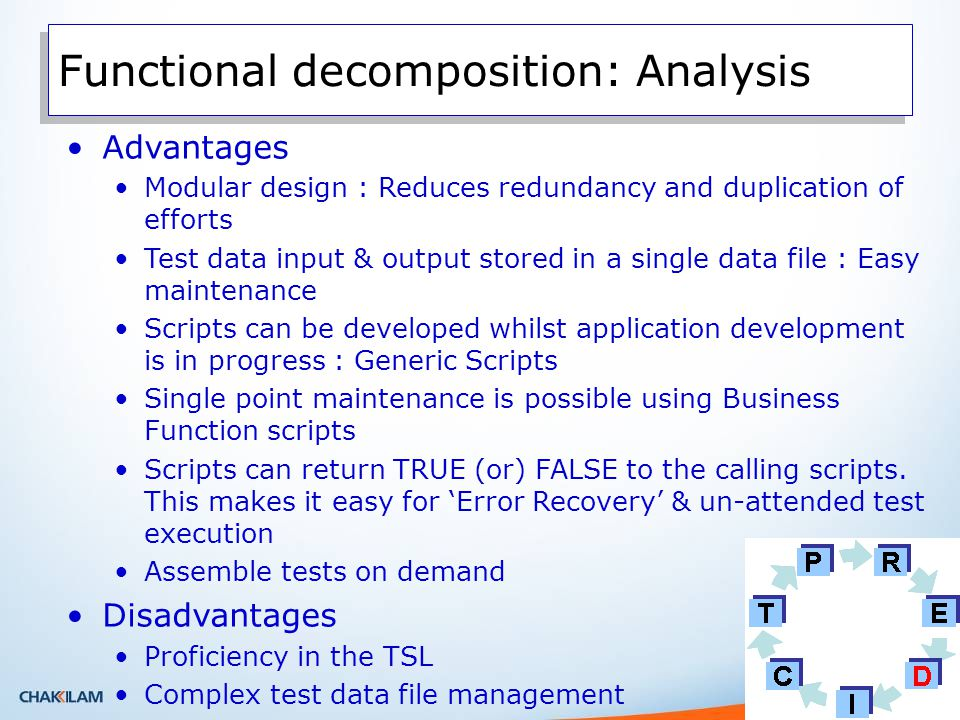 Functional decomposition: Analysis Advantages Modular design : Reduces redundancy and duplication of efforts Test data input & output stored in a single data file : Easy maintenance Scripts can be developed whilst application development is in progress : Generic Scripts Single point maintenance is possible using Business Function scripts Scripts can return TRUE (or) FALSE to the calling scripts.