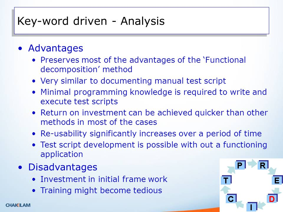 Advantages Preserves most of the advantages of the Functional decomposition method Very similar to documenting manual test script Minimal programming knowledge is required to write and execute test scripts Return on investment can be achieved quicker than other methods in most of the cases Re-usability significantly increases over a period of time Test script development is possible with out a functioning application Disadvantages Investment in initial frame work Training might become tedious Key-word driven - Analysis