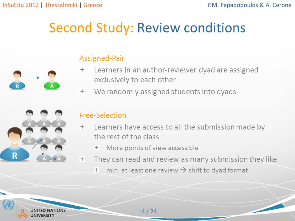 14 / 24 Second Study: Review conditions Assigned-Pair Learners in an author-reviewer dyad are assigned exclusively to each other We randomly assigned students into dyads Free-Selection Learners have access to all the submission made by the rest of the class More points of view accessible They can read and review as many submission they like min.
