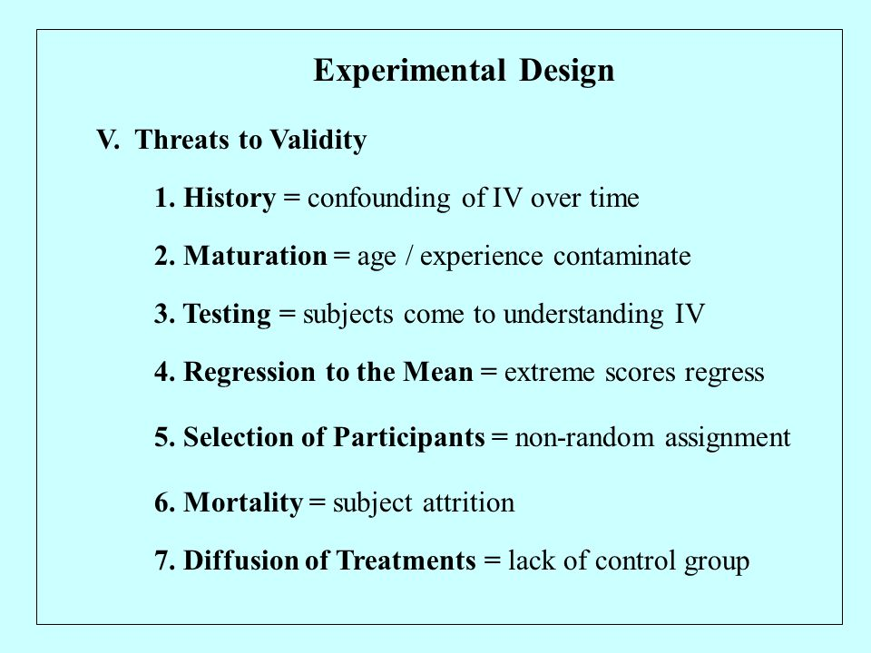 Experimental Design V. Threats to Validity 1. History = confounding of IV over time 2.