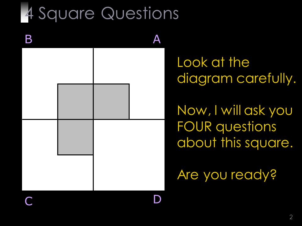 2 Look at the diagram carefully. Now, I will ask you FOUR questions about this square.