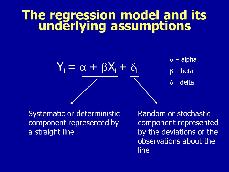 The regression model and its underlying assumptions i i i Y i = + X i + i Systematic or deterministic component represented by a straight line Random or stochastic component represented by the deviations of the observations about the line – alpha – beta delta