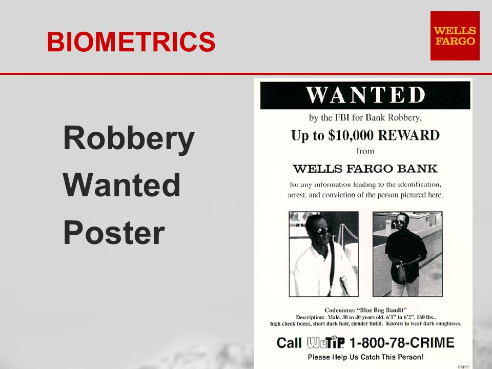 BIOMETRICS Robbery Wanted Poster