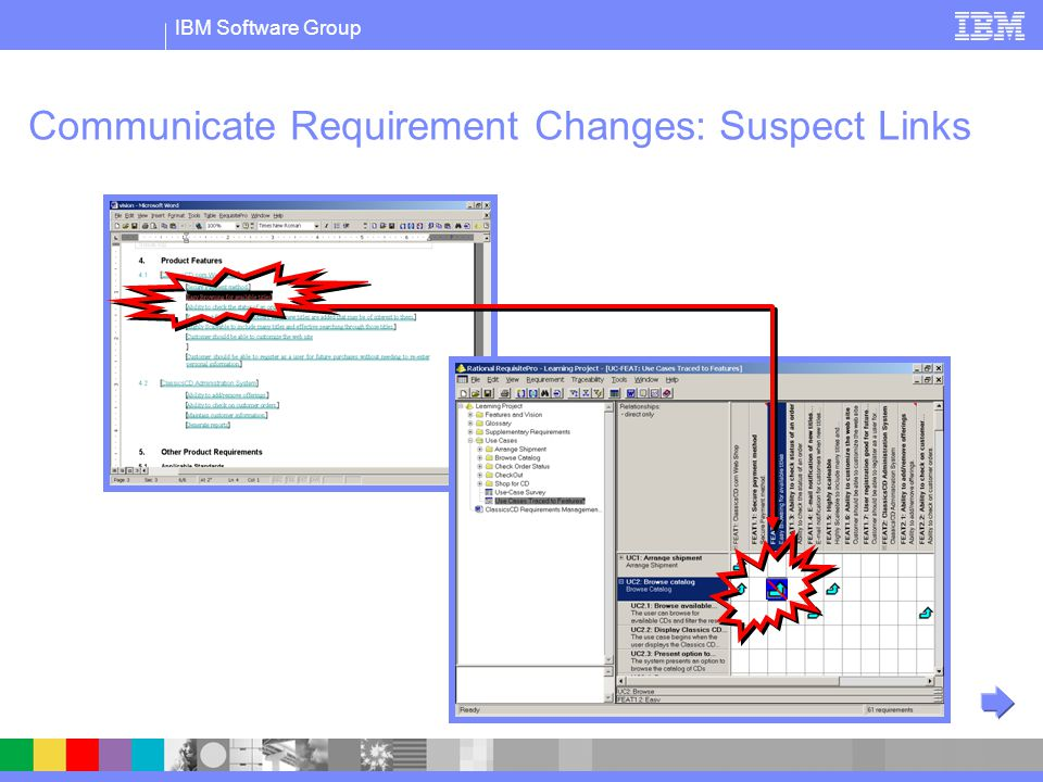 IBM Software Group Communicate Requirement Changes: Suspect Links