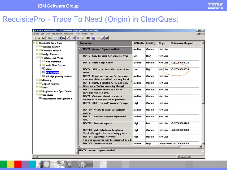 IBM Software Group RequisitePro - Trace To Need (Origin) in ClearQuest