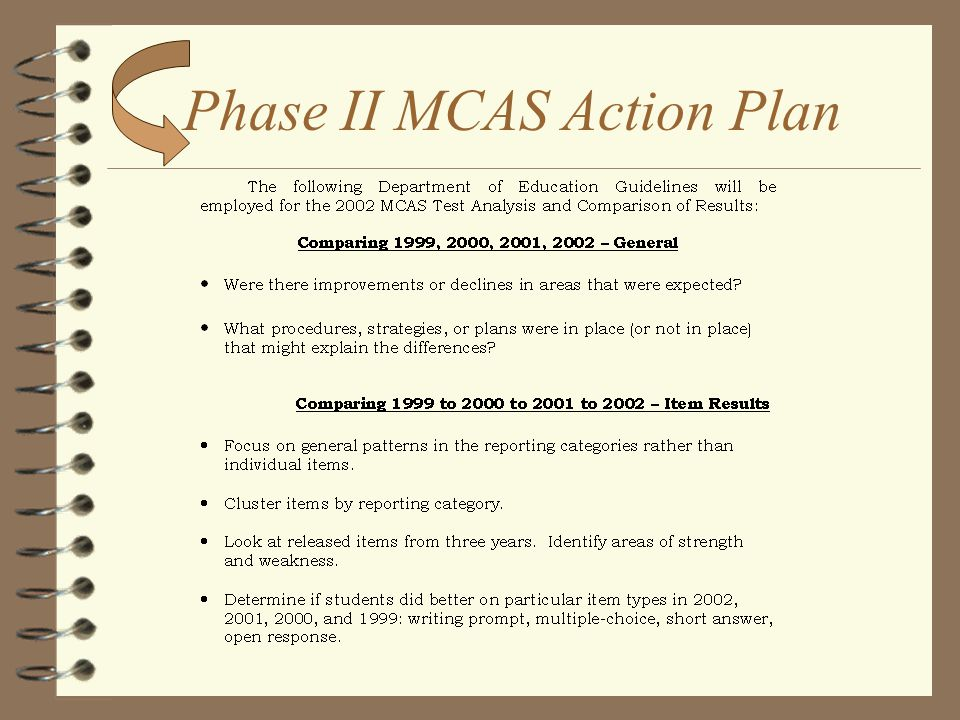Phase I MCAS Action Plan 4 Initial MCAS Staff Meeting (Mid-September) 4 Entire Staff grouped into Grade-Level Committees 4 Analyze DOE Preliminary Tes