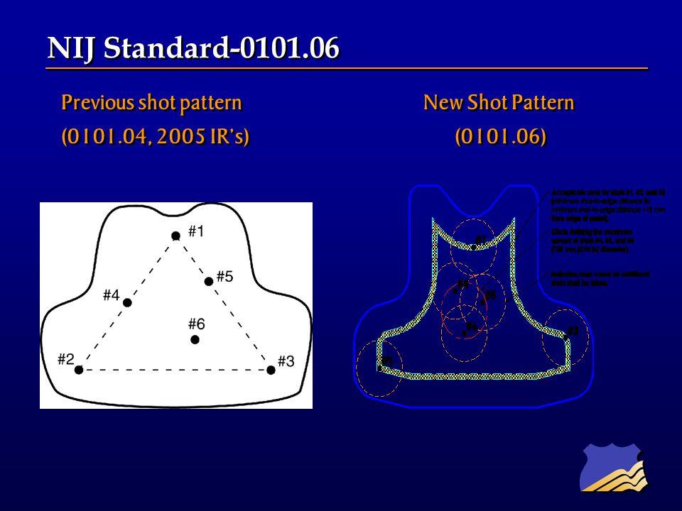 Previous shot pattern New Shot Pattern (0101.04, 2005 IRs) (0101.06) Previous shot pattern New Shot Pattern (0101.04, 2005 IRs) (0101.06) NIJ Standard