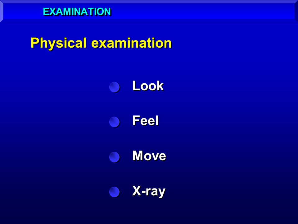 Physical examination Look Feel Move X-ray Look Feel Move X-ray EXAMINATIONEXAMINATION