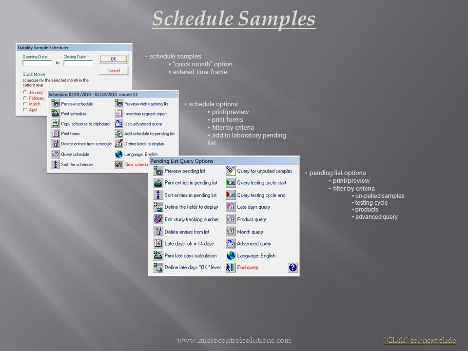 www.microcontrolsolutions.com Schedule Samples schedule samples quick month option entered time frame schedule options print/preview print forms filte
