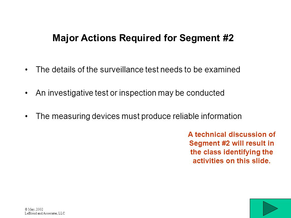 © May, 2002 LeBlond and Associates, LLC Major Actions Required for Segment #2 The details of the surveillance test needs to be examined An investigati