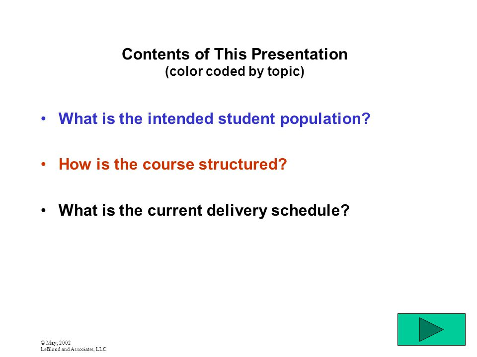 © May, 2002 LeBlond and Associates, LLC Contents of This Presentation (color coded by topic) What is the intended student population.