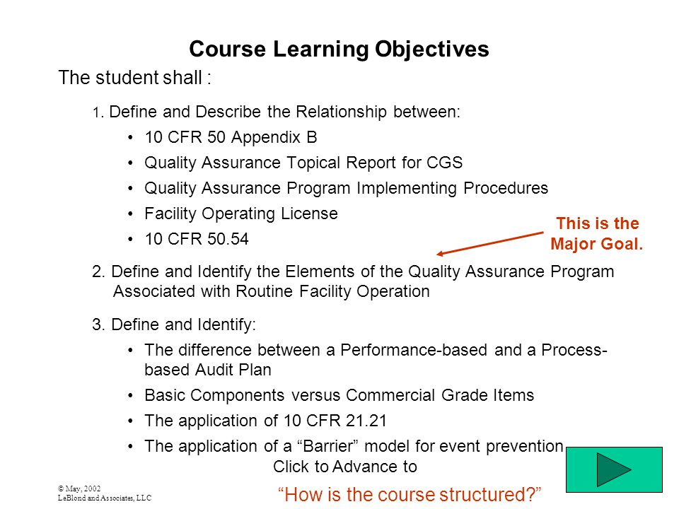 © May, 2002 LeBlond and Associates, LLC Course Learning Objectives The student shall : 1. Define and Describe the Relationship between: 10 CFR 50 Appe