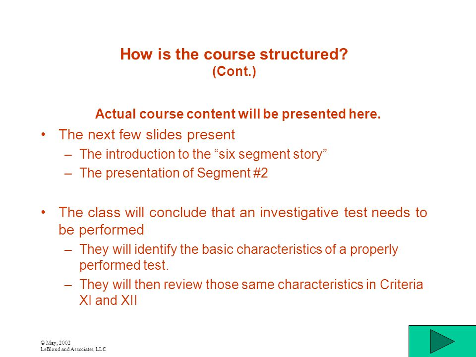 © May, 2002 LeBlond and Associates, LLC How is the course structured? (Cont.) Actual course content will be presented here. The next few slides presen