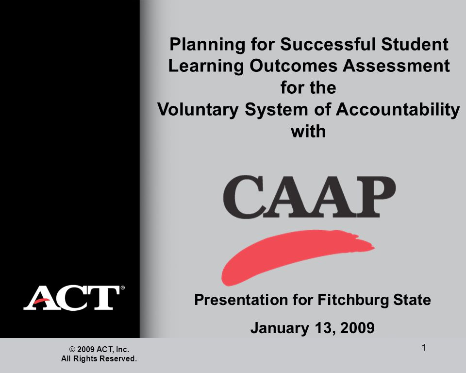 1 Planning for Successful Student Learning Outcomes Assessment for the Voluntary System of Accountability with © 2009 ACT, Inc. All Rights Reserved. P