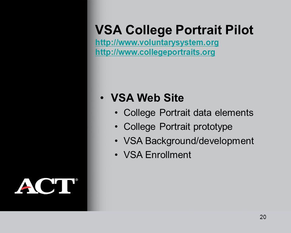 20 VSA College Portrait Pilot http://www.voluntarysystem.org http://www.collegeportraits.org http://www.voluntarysystem.org http://www.collegeportraits.org VSA Web Site College Portrait data elements College Portrait prototype VSA Background/development VSA Enrollment
