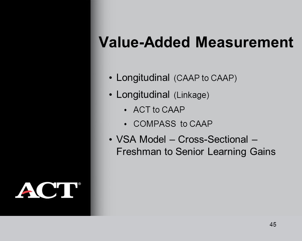 45 Value-Added Measurement Longitudinal (CAAP to CAAP) Longitudinal (Linkage) ACT to CAAP COMPASS to CAAP VSA Model – Cross-Sectional – Freshman to Senior Learning Gains