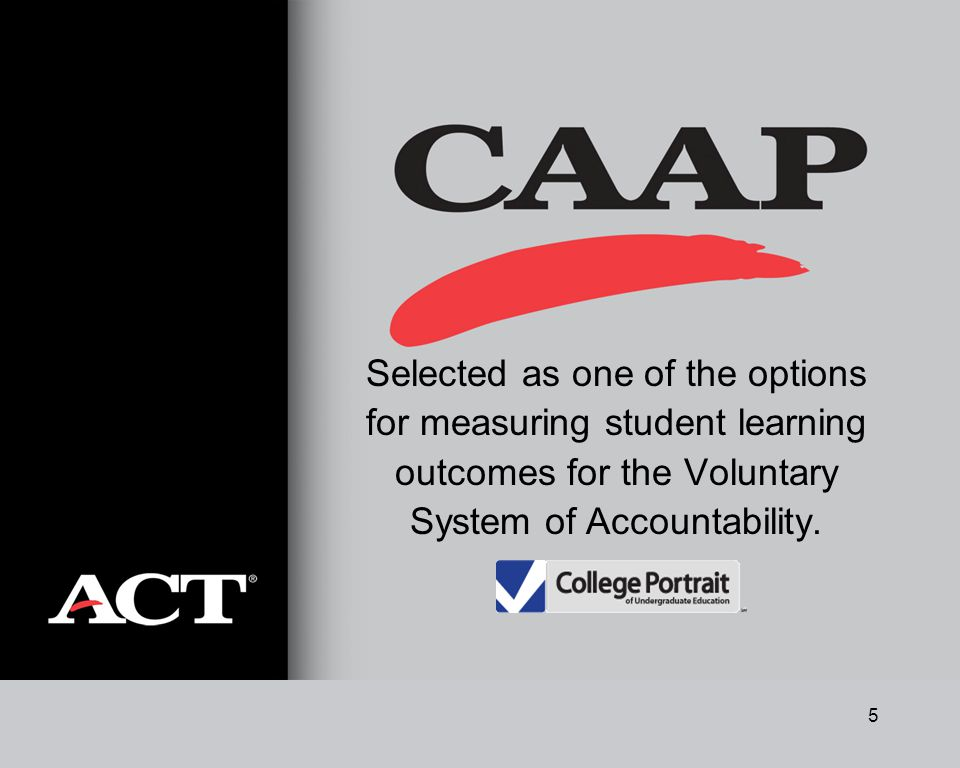 5 Selected as one of the options for measuring student learning outcomes for the Voluntary System of Accountability.