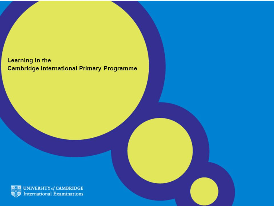 Learning in the Cambridge International Primary Programme