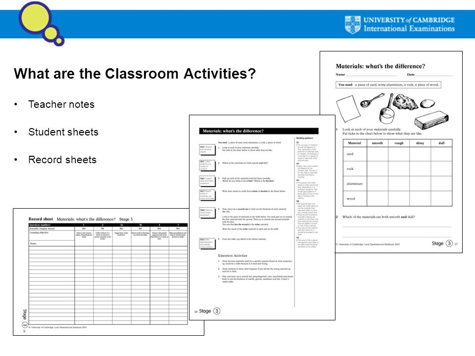 What are the Classroom Activities? Teacher notes Student sheets Record sheets