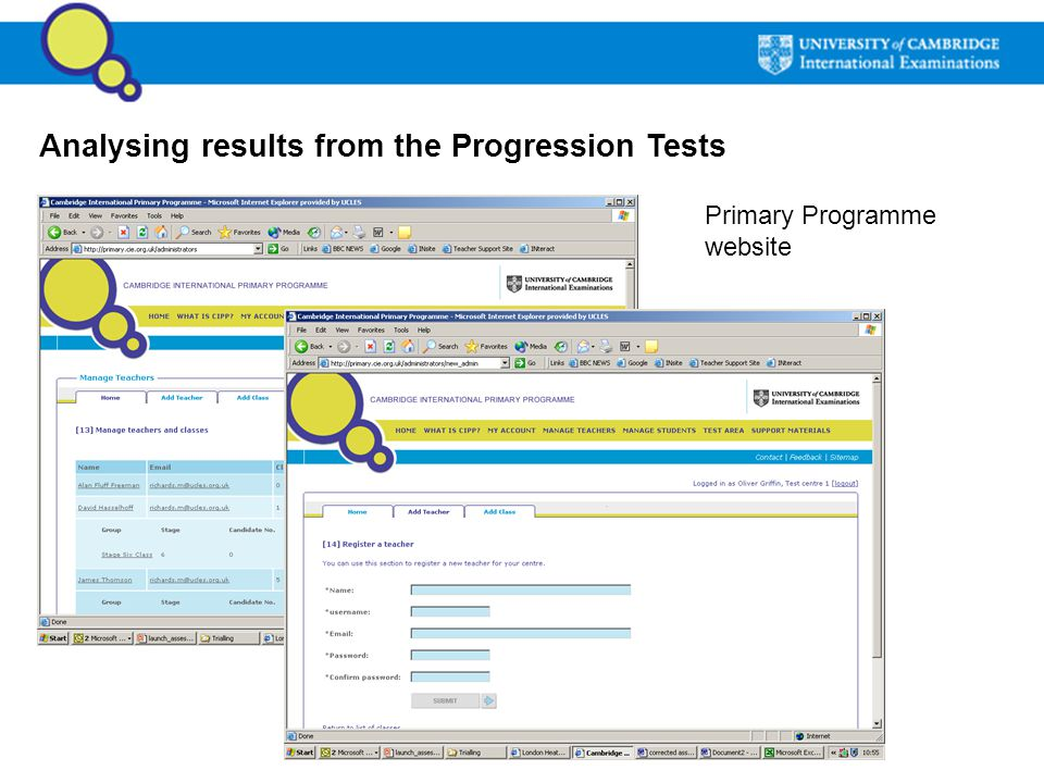Analysing results from the Progression Tests Primary Programme website