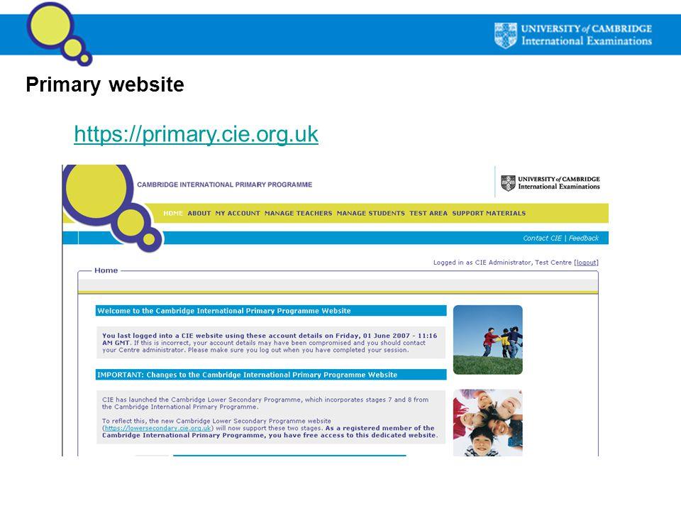 Primary website https://primary.cie.org.uk