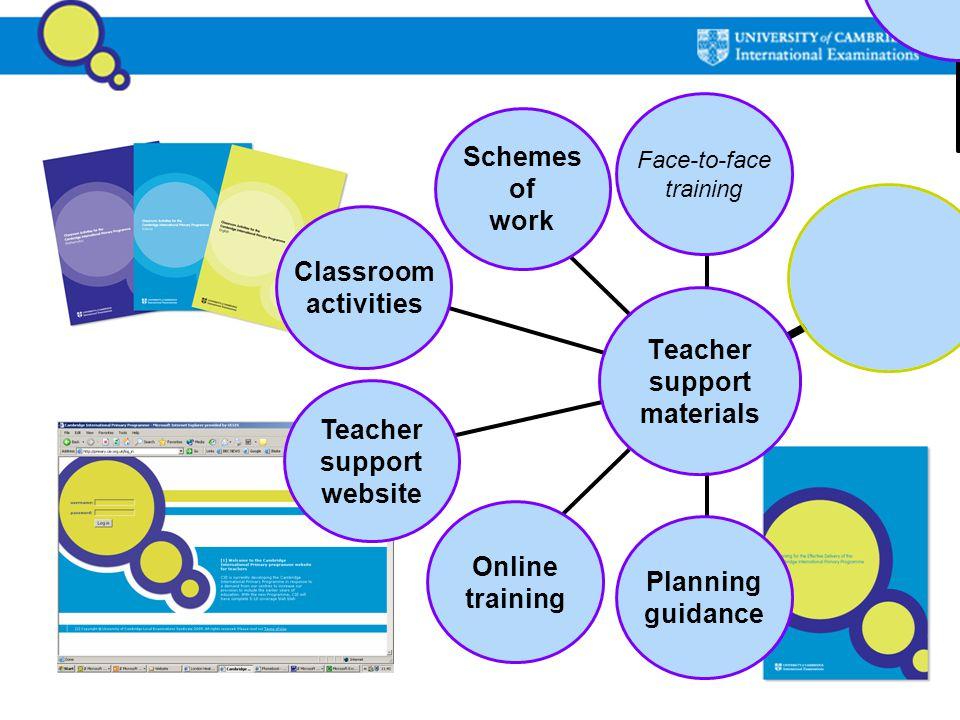 Teacher support materials Planning guidance Schemes of work Classroom activities Face-to-face training Online training Teacher support website