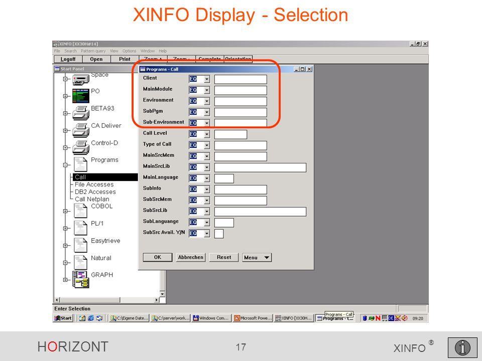 HORIZONT 17 XINFO ® XINFO Display - Selection