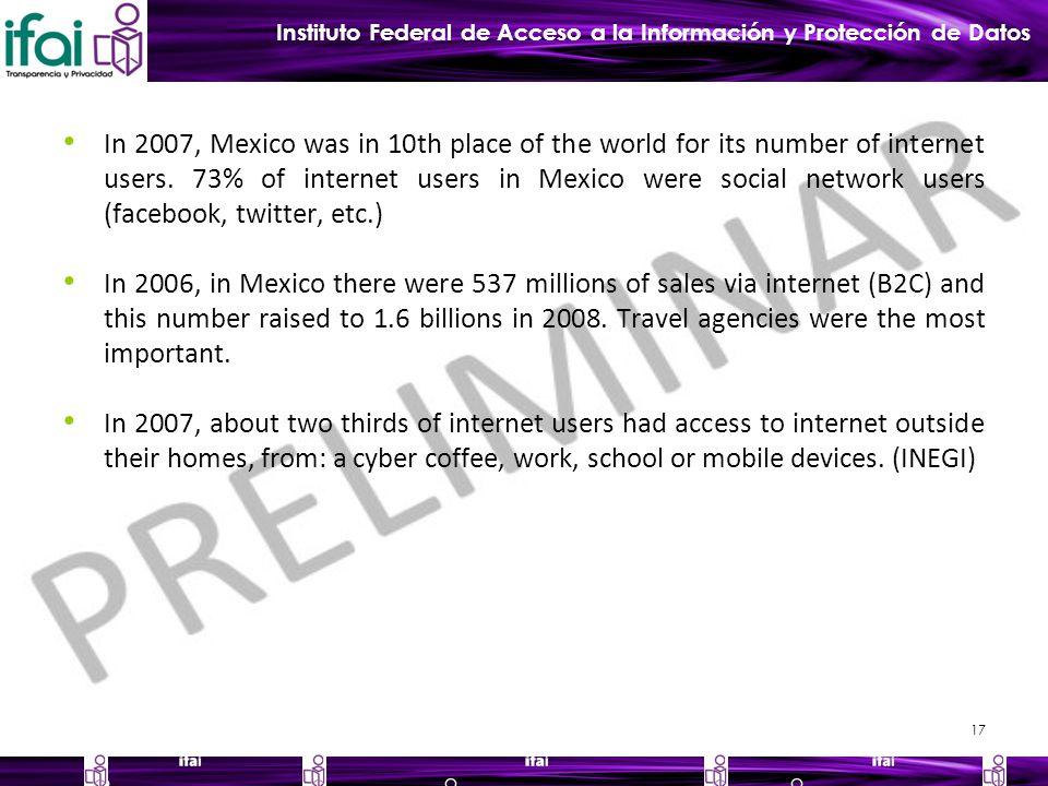 Instituto Federal de Acceso a la Información y Protección de Datos In 2007, Mexico was in 10th place of the world for its number of internet users.