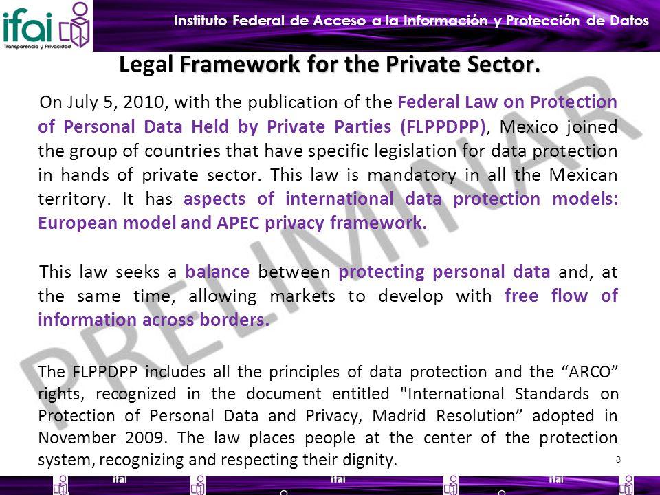 Instituto Federal de Acceso a la Información y Protección de Datos Framework for the Private Sector.