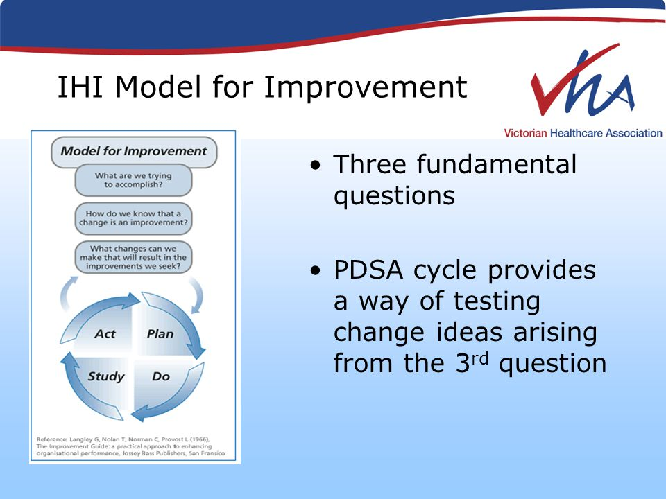IHI Model for Improvement Three fundamental questions PDSA cycle provides a way of testing change ideas arising from the 3 rd question