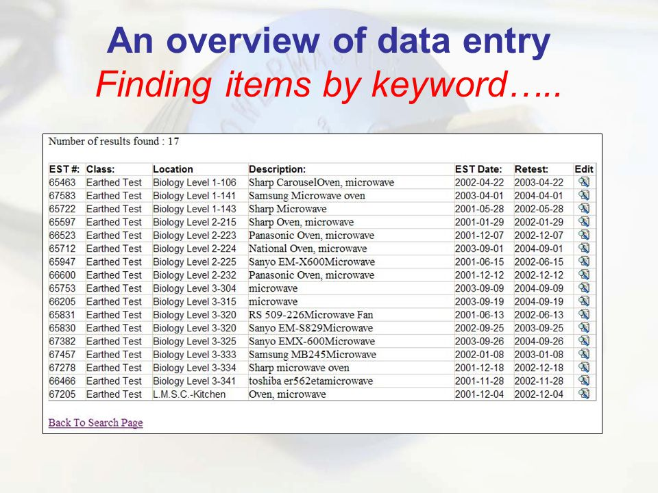 An overview of data entry Finding items by keyword…..