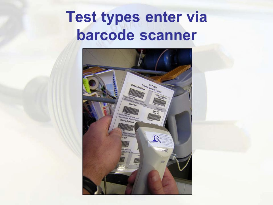 Test types enter via barcode scanner
