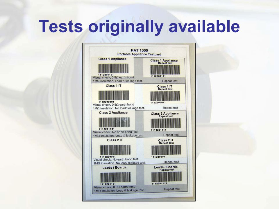 Tests originally available
