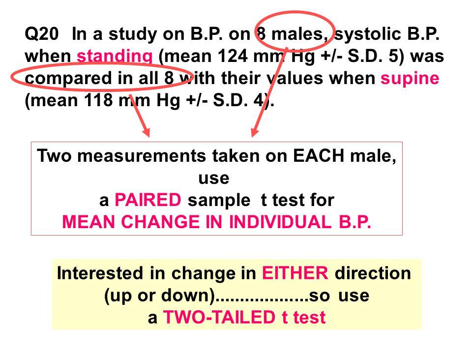 Q20In a study on B.P. on 8 males, systolic B.P. when standing (mean 124 mm Hg +/- S.D.