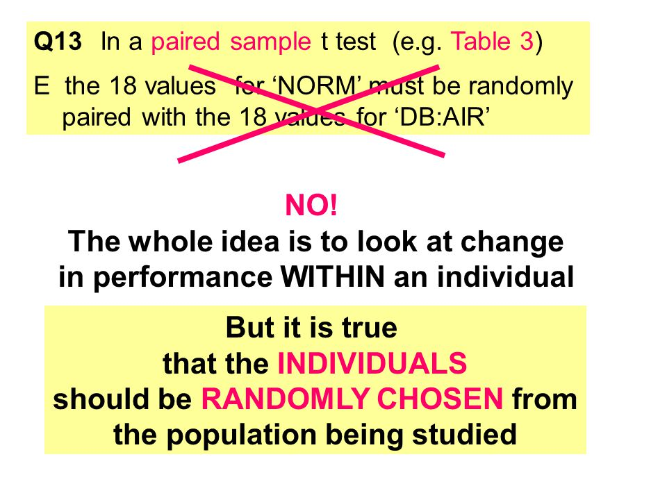 Q13In a paired sample t test (e.g.