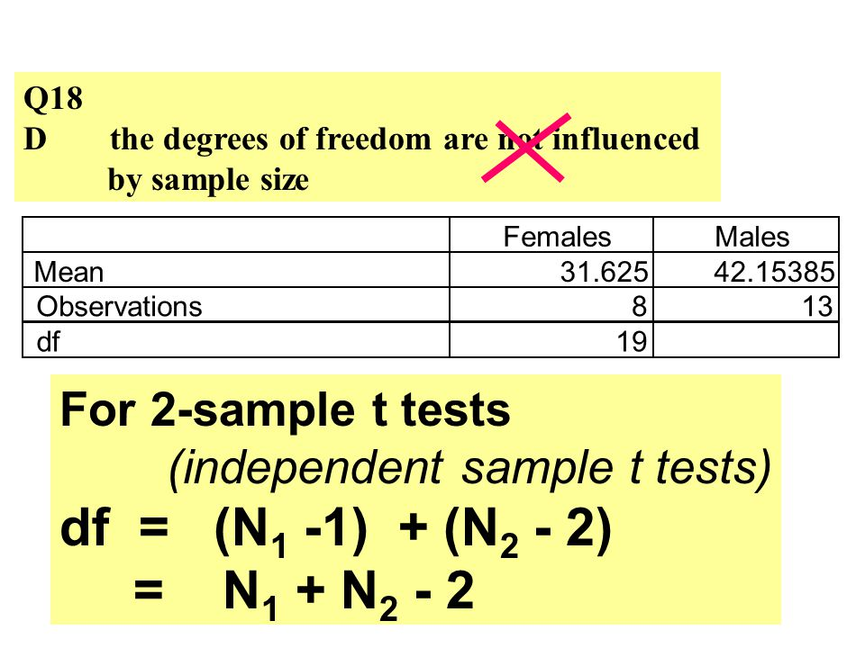 Q18 Dthe degrees of freedom are not influenced by sample size For 2-sample t tests (independent sample t tests) df = (N 1 -1) + (N 2 - 2) = N 1 + N 2 - 2 FemalesMales Mean31.62542.15385 Observations813 df19