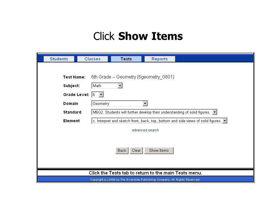 Click Show Items