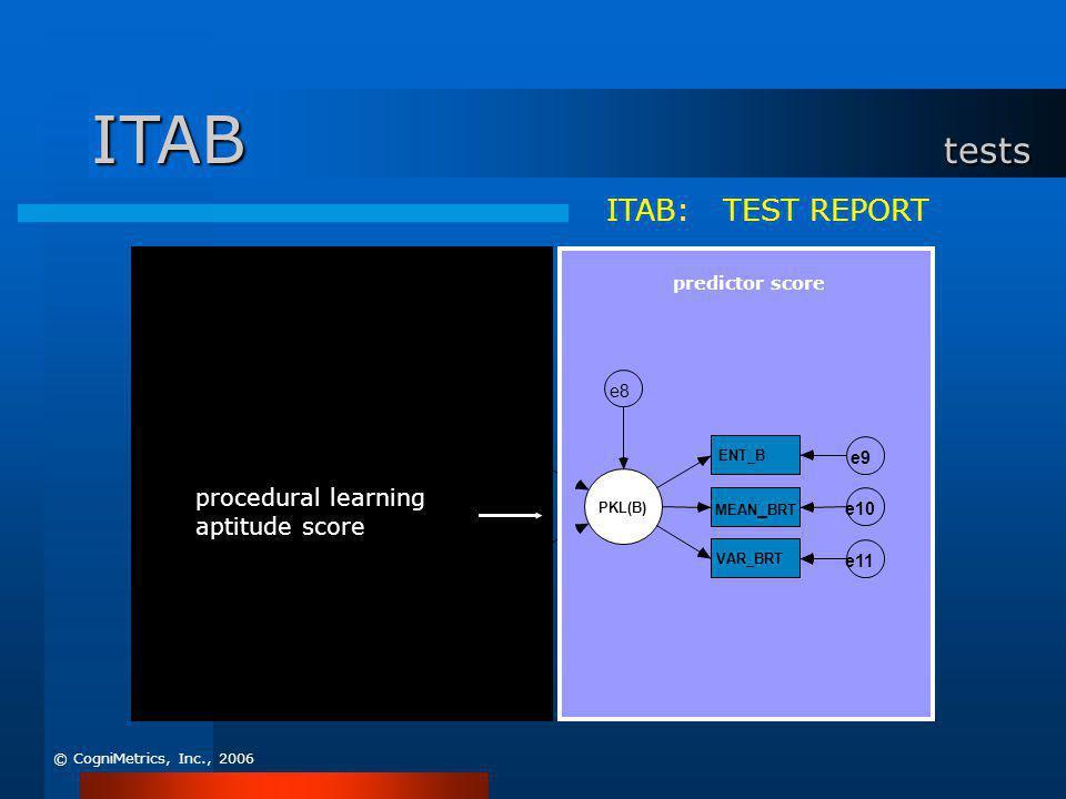 systematic approach e5 e4 intelligence e7 e6 e3 e2 e1 diagnostic information ITAB: TEST REPORT PKL(B) ENT_B e9 MEAN _ BRT e10 VAR_BRT e11 e8 predictor