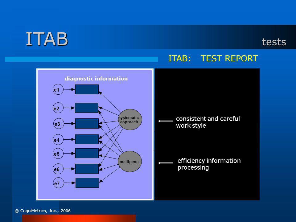 ITAB: TEST REPORT systematic approach e5 e4 intelligence e7 e6 e3 e2 e1 diagnostic information PKL(B) ENT_B e9 MEAN _ BRT e10 VAR_BRT e11 e8 predictor