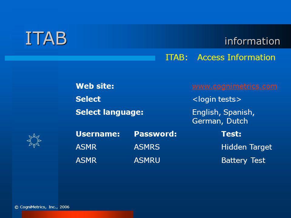 ITAB: Access Information Web site:www.cognimetrics.comwww.cognimetrics.com Select Select language:English, Spanish, German, Dutch Username:Password:Te