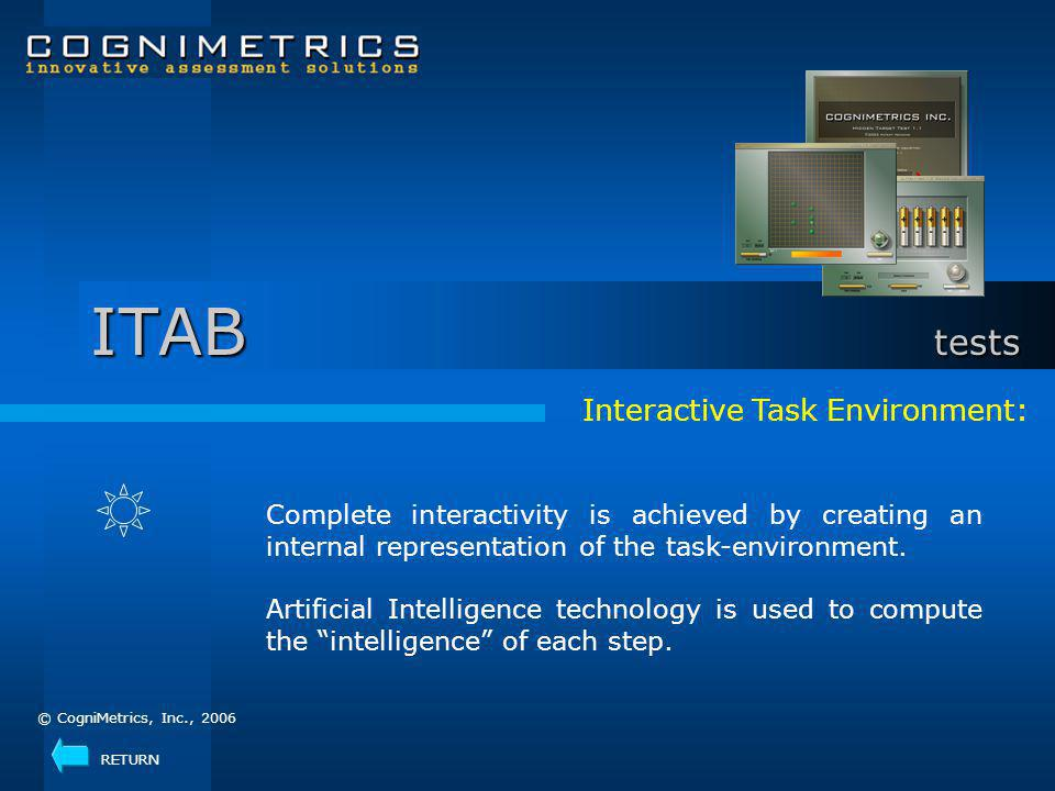 Interactive Task Environment: Complete interactivity is achieved by creating an internal representation of the task-environment.