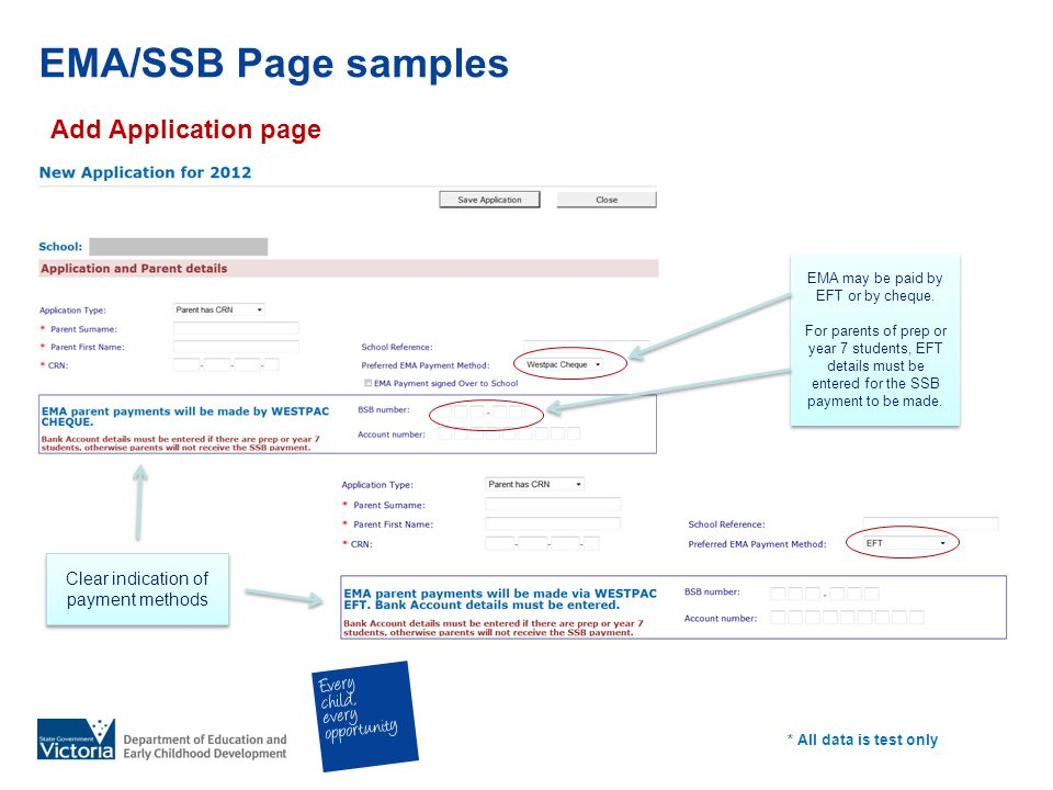EMA/SSB Page samples Add Application page * All data is test only Clear indication of payment methods EMA may be paid by EFT or by cheque. For parents