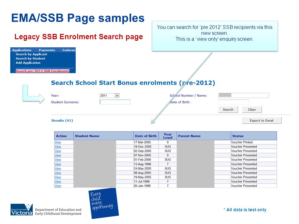 EMA/SSB Page samples Legacy SSB Enrolment Search page * All data is test only You can search for pre 2012 SSB recipients via this new screen.