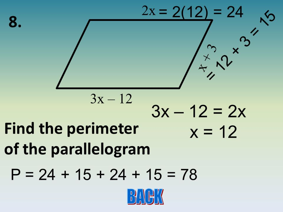 7. Twice an angle is 6 more than its supplement. Find the measure of the angles complement.
