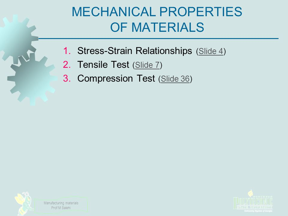 Manufacturing materials Prof M Salehi Engineering Stress Defined as force divided by original area: where e = engineering stress (MPa) or Pa or psi, F = applied force (N) or lb, and A o = original area of test specimen (mm 2 or m 2 or in 2 ) (Remember: N/ m 2 = Pa, N/ mm 2 = MPa, lb/ in 2 = psi, klb/ in 2 = kips/ in 2 )